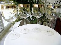 Set of 4 Vintage Etched Clear Crystal Red Wine Glasses Multiple Available