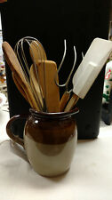 County/primative HANDCRAFTED GLAZED CLAY PITCHER WITH UTENSILS