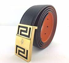 UScarmen Men's Plaque Buckle 'L' Leather Belt Size 45 BLACK / TAN