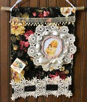shabby vintage lace WALL HANGING picture frame ADD YOUR OWN PIC chic HAND MADE a