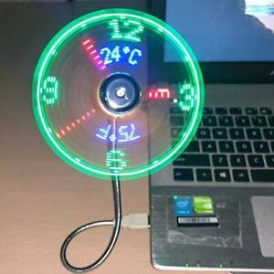USB Clock Fan Real Time Temperature Function Silver 1 Year Clock NEW