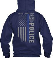Police Blue Line - Protect Serve Honor Gildan Hoodie Sweatshirt