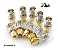 10-PACK TNC Female to Gold-Plated SMA Male Coaxial RF Adapter, RF-M152-10
