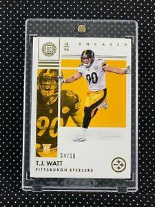 2017 Panini Encased TJ Watt Rookie Gold #'d 04/10 Pittsburgh Steelers SSP!