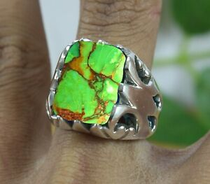 Green Copper Turquoise Gemstone 925 Sterling Silver Handmade Mens Ring Jewelry