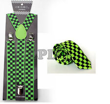 New Awesome Black & Green Checker Board NeckTie & Suspender Set Combo