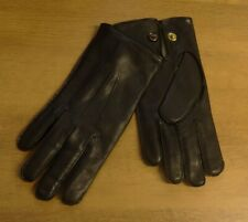 Dents Mens Black Leather Gloves Knitted Wool Lining Snap Fastening Size 10 New