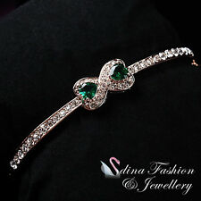 18K Rose Gold Plated Made With Swarovski Crystal Emerald Bow-knot Bangle