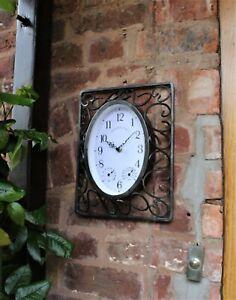 Garden Station Clock Indoor Outdoor grey Scroll effect Temperature Humidity