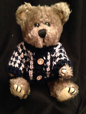 "Teddy Bear Brown Stuffed Plush Pose-able Jointed Sweater Hugfun 9"" Toy 1998"