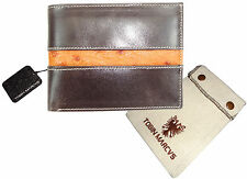 T. Marcus CALFSKIN LEATHER WALLET BIFOLD RFID Blocking Vegetable Tanned OSTRICH