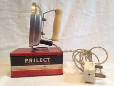 True Vintage Prilect Travelling Iron 200/250 Volts  With Tin Made In England