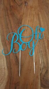 'Oh Boy' glitter cake toppers for baby shower