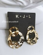 Kenneth Jay Lane Gold Dangle Earrings 22 Kt Plated In Ribbon Wrapped Gift Box