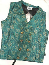 Mens Green Brocade doublebreasted vest Steampunk Victorian Old West LARGE