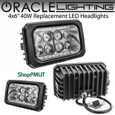 "ORACLE 4x6"" Sealed Beam 40W Replacement LED Square Headlights - Black Bezel"