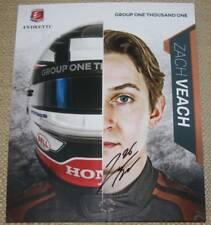 2018 Zach Veach signed Group One Thousand One Honda Dallara Indy Car postcard