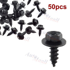 50pcs Black Metal Car Body Fender Bumper Retainer Clips Screw Hex Head Washer