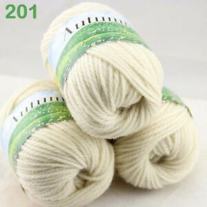 Sale New Lot 3Ballsx50gr Hand Yarn Knitting Wool Silk Warm Wrap Shawl Scarf 201
