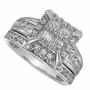 3 ct Square Princess-Cut 10K White Gold Quad D VVS1 Engagement Bridal Set Ring