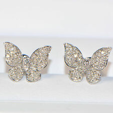 Diamant Ohrstecker 0,78 ct 750er Weissgold 18K Ohrringe Schmetterling Butterfly