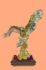 Large Crystal 24K Gold Plated Bronze Sculpture Collectible Figurine Gift Deal