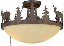 "Rustic Lodge 12"" Bronze Ceiling Flush Mount or Fan Light Cabin Woods Deer Pine"