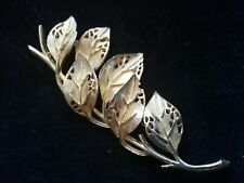Of Branch And Leaves 3 Inches Long Vintage Gold Tone 1960S Brooch In Form