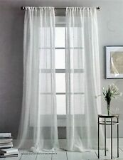 DKNY Two Rod Pocket Curtain Panels Sterling Sheer 50 IN X 84 IN - White NEW