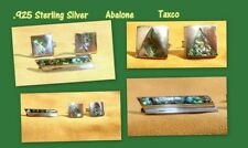 Silver Abalone Marked Taxco Tie Bar + Cufflinks Sterling
