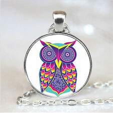 Owl Art  Cabochon Glass Tibet Silver Chain Fashion Pendant Necklace