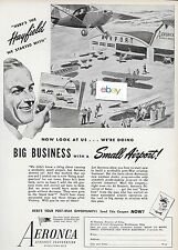 AERONCA AERONAUTICAL CORP HAYFIELD TO SMALL AIRPORT AND BIG BUSINESS 1944 AD