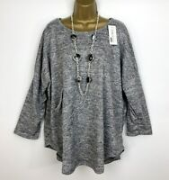 Italian Tunic Top UK Size 16 18 20 22 Light Grey Pockets Long Sleeved