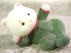 "Fenton Glass Handpainted Iced Green ""Pajama Baby"" Reclining Bear, new"