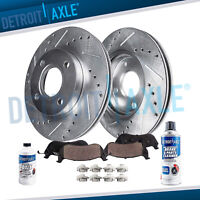 Front Drilled Rotors and Ceramic Brake Pads for Nissan Cube Sentra Versa