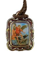 Archangel Saint St Michael Icon Charm Pendant Cord Necklace with Prayer Card