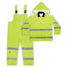 NEW CLC -R111XL- FLOURESCENT YELLOW HI VISIBILITY 3-PIECE RAIN SUIT (  SIZE XL )