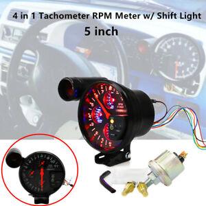 "5"" 12V Tachometer RPM Meter w/ Shift Light Oil Pressure Water Temp Gauge 0~7 Bar"