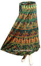 Printed Cotton Long Skirt  Ethnic Floral Rapron Green Wrap Around Indian Women