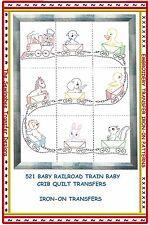 Railroad Train Baby Crib Quilt Transfer Pattern Iron-on  # 521