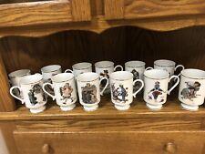 1981 Norman Rockwell Porcelain Mug Set, Danbury Mint (set Of 12)