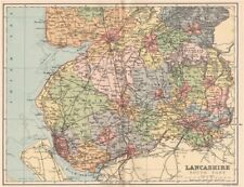 LANCASHIRE SOUTH PART. Antique county map 1893 old plan chart