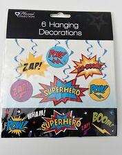 6 SUPERHERO HANGING DECORATIONS swirl BUNTING kids GIRLs decoration