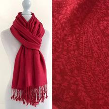 Ladies Red Paisley Scarf Pashmina Shawl Wrap Floral Long Large Reversible Cotton