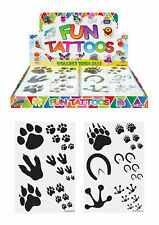 12 Animal Pawprints Tattoos Birthday Party Loot Bag Toy Fillers For Kids