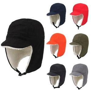 Skull Cap with Ear Flaps, Winter Windproof Soft Warm Polar Fleece Beanie Hats