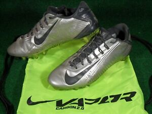 Nike Vapor Carbon Elite 2.0 2014 TD Low Football Cleats Silver Black 11.5 Bag
