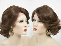 Natural Looking Hairline Medium  Len Lace Front Wavy Straight Brunette Red Wigs