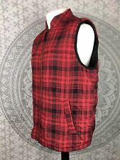 VINTAGE RALPH LAUREN CHAPS BODY WARMER Gilet Vest Tartan Red Black Large L Mens