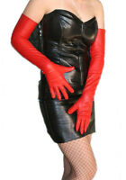 """60cm(23.6"""")long plain evening real leather opera long opera gloves in red"""